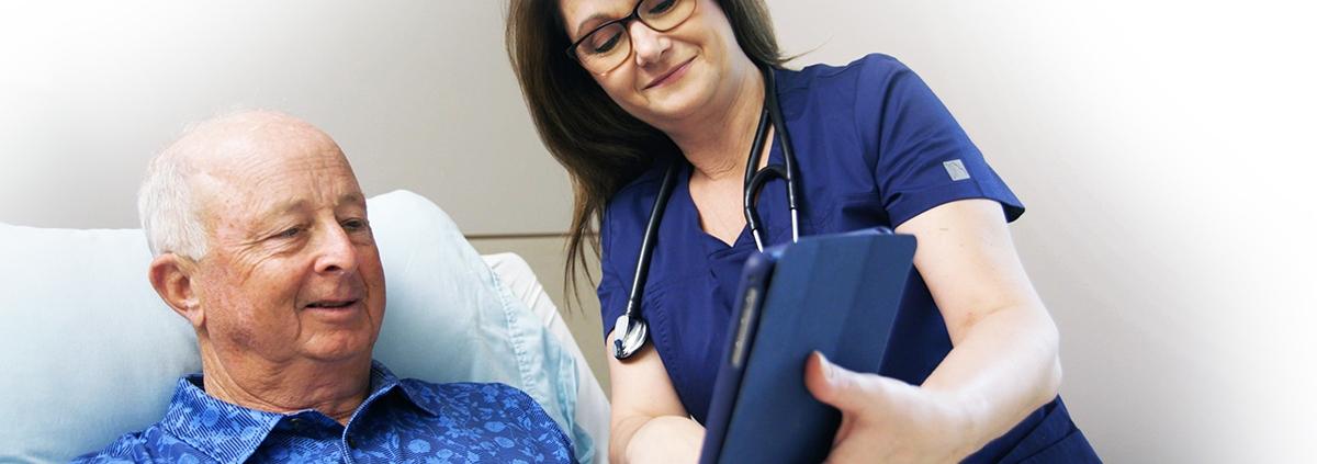 Nurse Telepresenting to Man