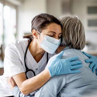 long-term care nurse and patient